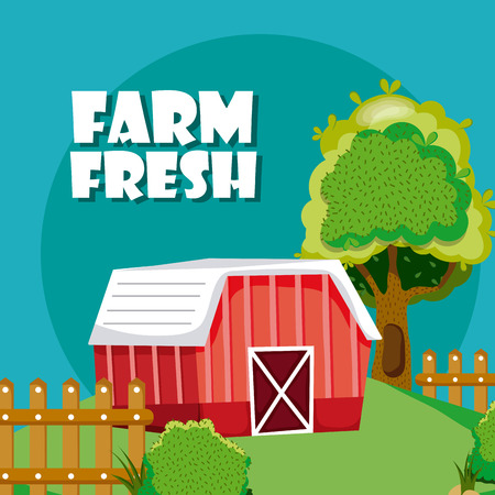Farm fresh with wooden house and fence cartoons vector illustration graphic design Vectores