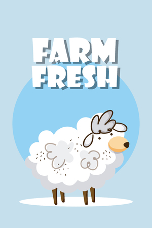 Farm fresh cute sheep animal cartoon vector illustration graphic design