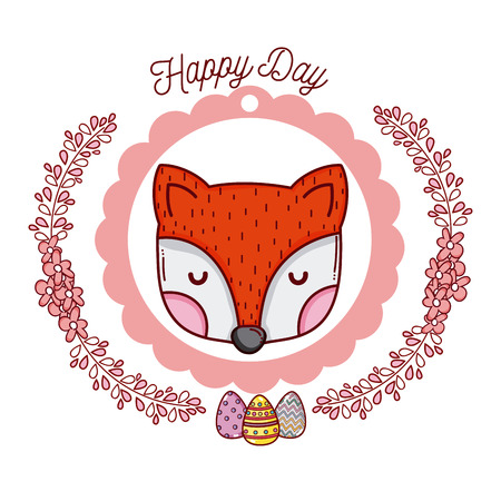 happy day emblem with cute fox on wreath vector illustration graphic design Banque d'images - 111945320