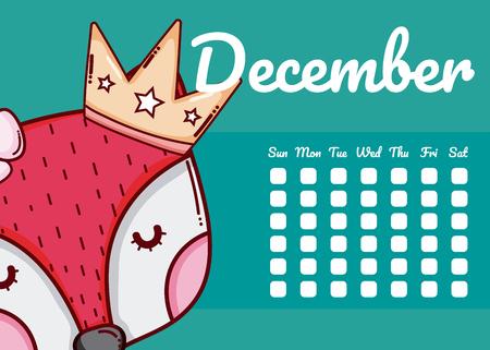 December and fox cute calendar cartoon vector illustration graphic design 일러스트