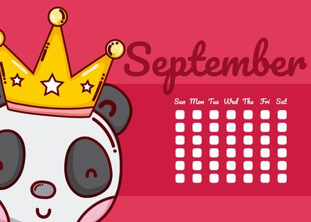 September and panda bear cute calendar cartoon vector illustration graphic design