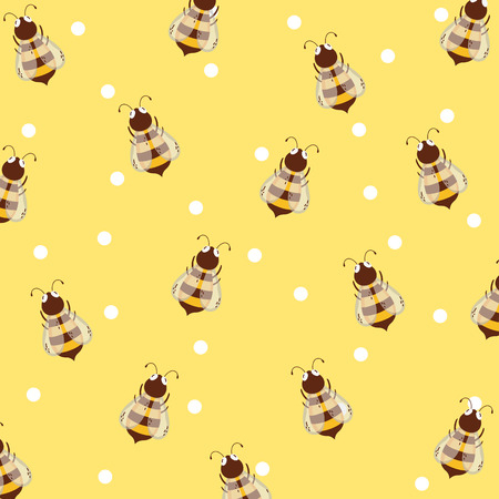 Bees pattern background vector illustration graphic design Illustration