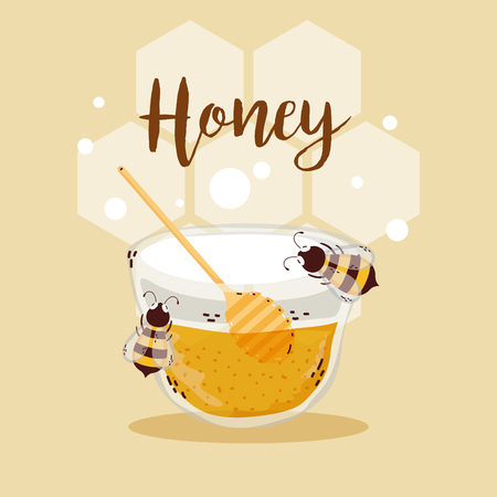 Sweet honey card with cute bees cartoons vector illustration graphic design Stock Illustratie