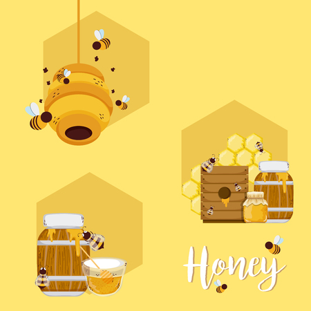 Set of honey and bees cartoons collection vector illustration graphic design
