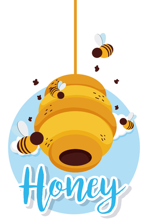 Sweet honey card with bee and elements cartoons on nature vector illustration graphic design Illustration