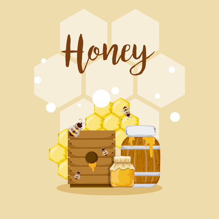 Sweet honey card with cute bees cartoons vector illustration graphic design Vectores