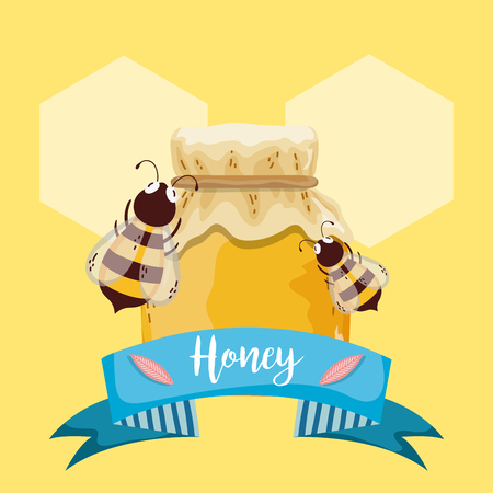 Sweet honey card with ribbon banner and bees vector illustration graphic design