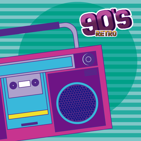 90s retro radio stereo cartoons over striped background vector illustration graphic design Illustration