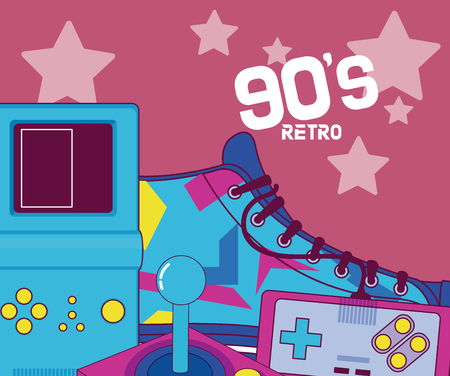 90s retro tetris shoe and videogames cartoons vector illustration graphic design