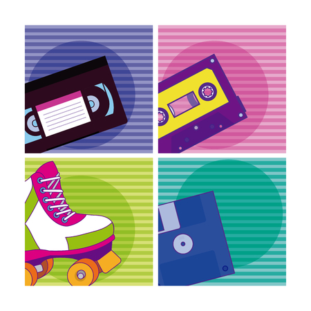 Set of 90s cartoons elements collection vector illustration graphic design 矢量图像