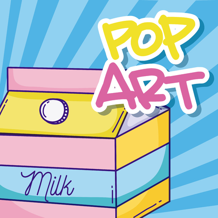 Pop art cartoons with milkbox over striped background vector illustration graphic design