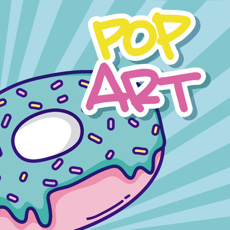 Pop art cartoons with sweet donut over striped background vector illustration graphic design
