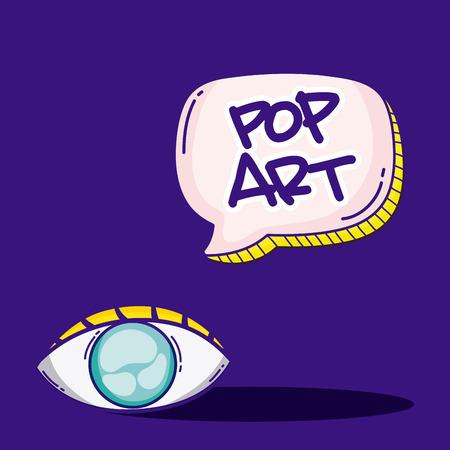 Pop art cartoons with eye and bubble over blue background vector illustration graphic design Ilustração