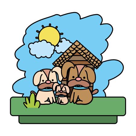 color family dog cute wild animal vector illustration