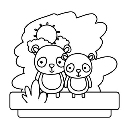 line couple panda cute wild animal vector illustration 일러스트