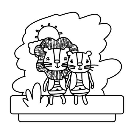 line couple lion cute wild animal vector illustration