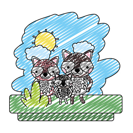 doodle family raccoon cute wild animal vector illustration 矢量图像