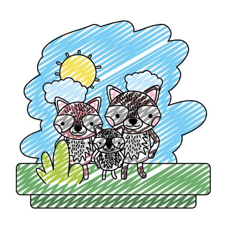 doodle family raccoon cute wild animal vector illustration Illustration