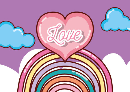 Love and rainbow in the sky cartoons vector illustration graphic design Illustration