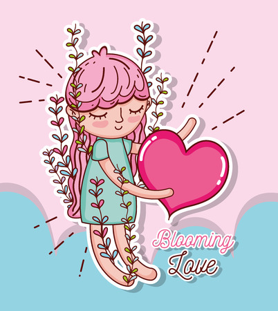 Beautiful girl with lovely heart tender cartoons vector illustration graphic design