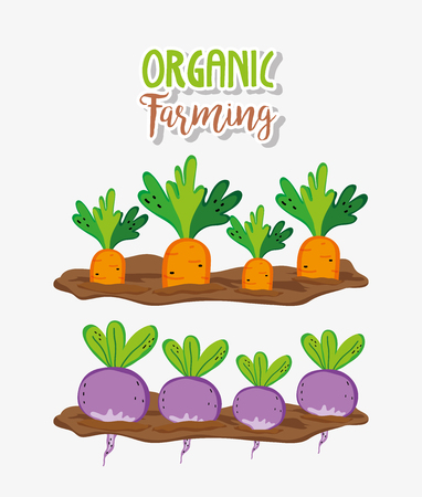Organic farming and farm fresh cute cartoons vector illustration graphic design