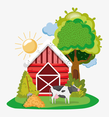 Cute farm house with cartoon scenery vector illustration graphic design