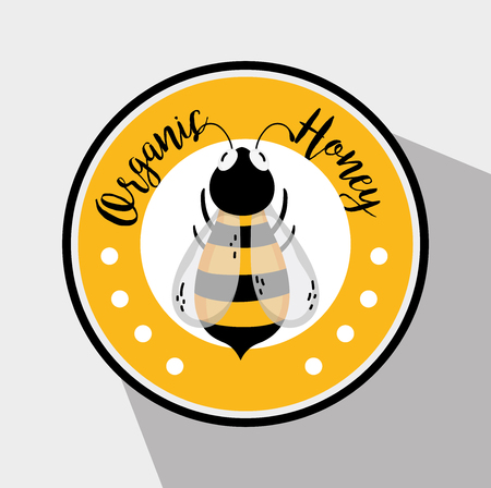 Organic honey round label with bee vector illustration graphic design