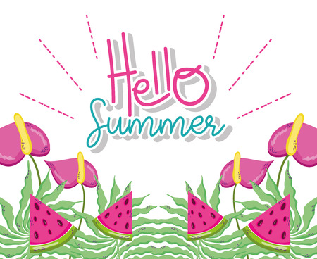 Hello summer watermelon and flowers cartoons vector illustration graphic design Illusztráció