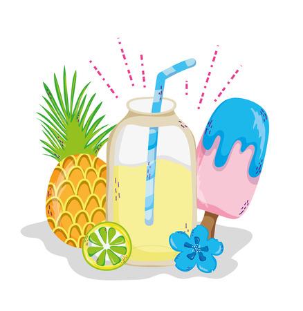 Delicious summer juice cartoon vector illustration graphic design