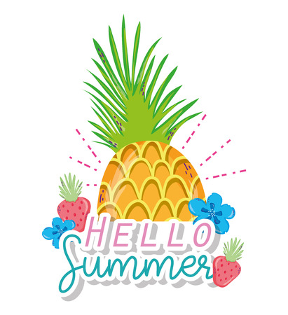 Hello summer pineapple flowers cartoons vector illustration graphic design