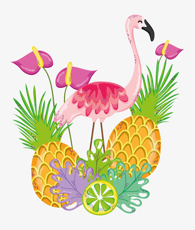 Hello summer card with pineapples and flamenco with leaves vector illustration graphic design