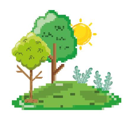 Pixelated forest scenery cartoon vector illustration graphic design