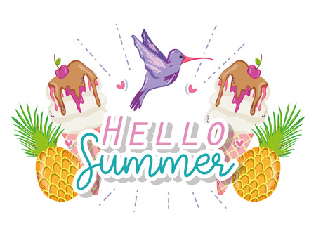 Hello summer card with exotic birds cartoons vector illustration graphic design