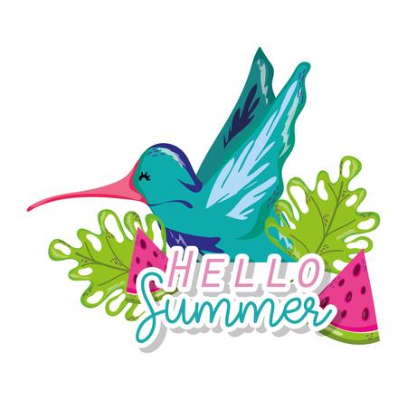 Hello summer card with exotic bird cartoon vector illustration graphic design