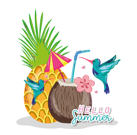 Hello summer card with exotic bird cartoon vector illustration graphic design