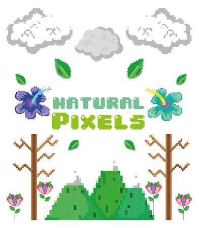 Píxeles naturales con flores en el diseño gráfico de ilustración de vector de dibujos animados de día soleado