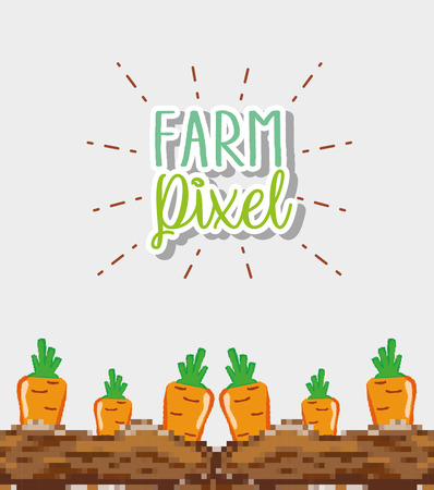 Farm pixel cartoons vector illustration graphic design