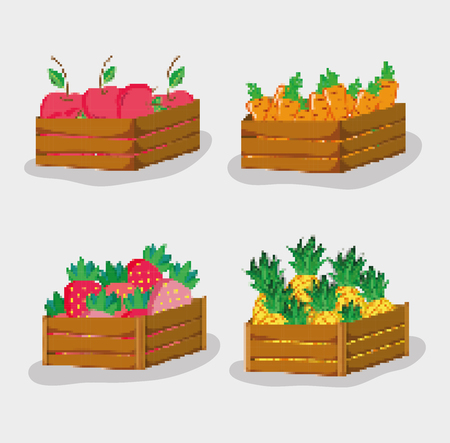 Set of natural fruits pixelated cartoons vector illustration graphic design Illustration