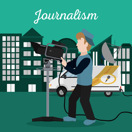Journalism cameraman with news van at city vector illustration graphic design