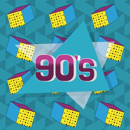 90s retro card design with elements and shapes vector illustration graphic design Stock Illustratie
