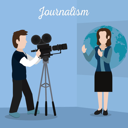 Woman journalist transmitting live on studio vector illustration graphic design