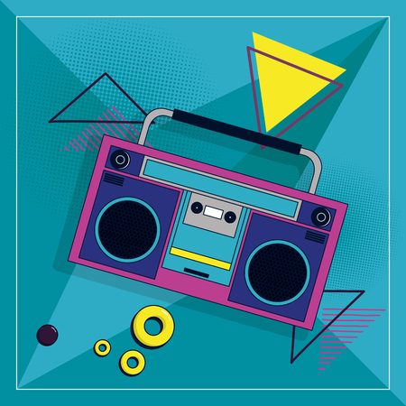 90s retro radio stereo cartoon element vector illustration graphic design vector illustration graphic design Ilustração Vetorial