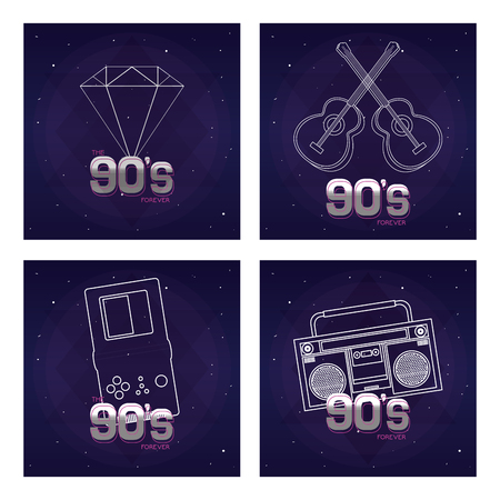 Set of retro pop cards collection vector illustration graphic design Illustration