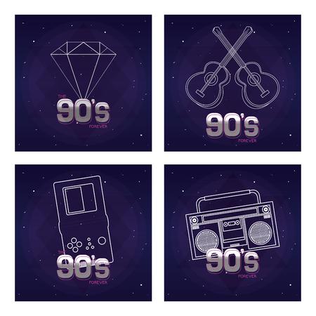 Set of retro pop cards collection vector illustration graphic design Illustration