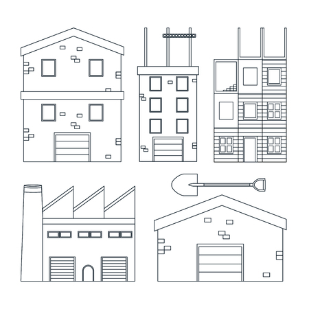 Set of construction icons in black and white vector illustration graphic design