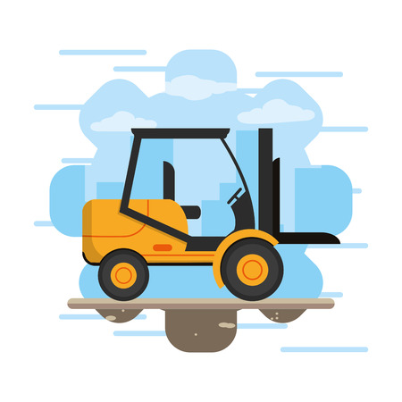 Construction forklift vehicle cartoon vector illustration graphic design