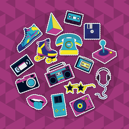 Set of retro icons collection vector illustration graphic design