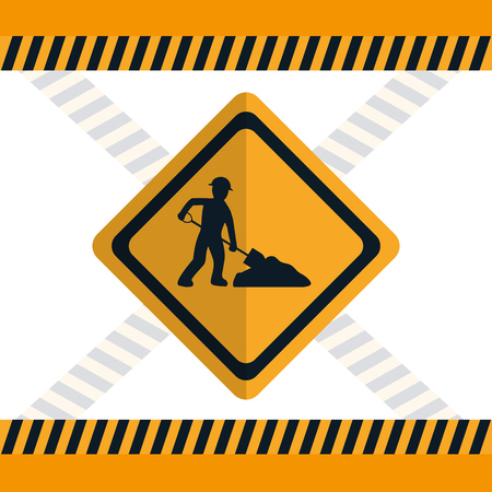 Construction worker with shovel road sign vector illustration graphic design