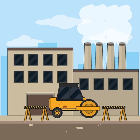 Construction industry with planer vehicle and barriers vector illustration graphic design