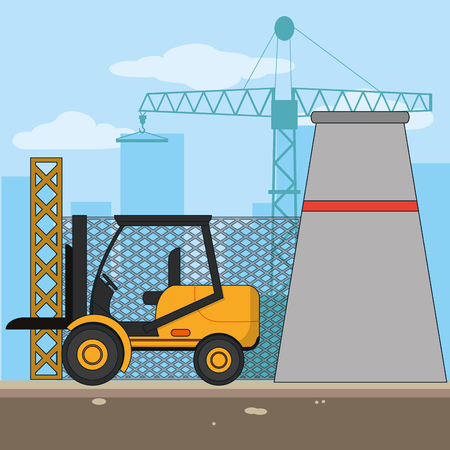 Construction zone with forklift and plant vector illustration graphic design Vectores